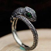 Украшения handmade. Livemaster - original item Chameleon Ring Silver 925 with green agate. Handmade.