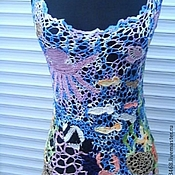 Одежда ручной работы. Ярмарка Мастеров - ручная работа майка по мотивам моря. Handmade.