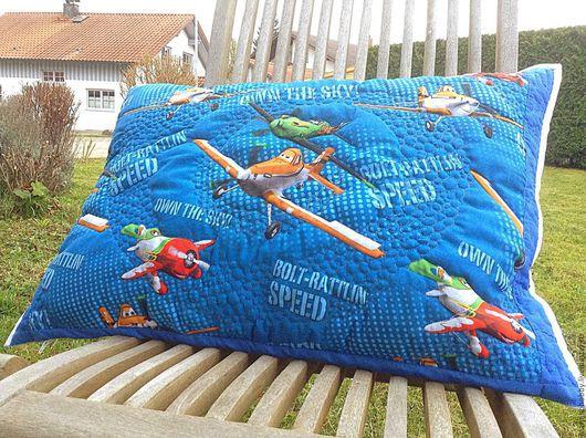 Текстиль, ковры ручной работы. Ярмарка Мастеров - ручная работа. Купить Подушка лоскутная подарок для мальчика Самолет Дасти. Handmade.