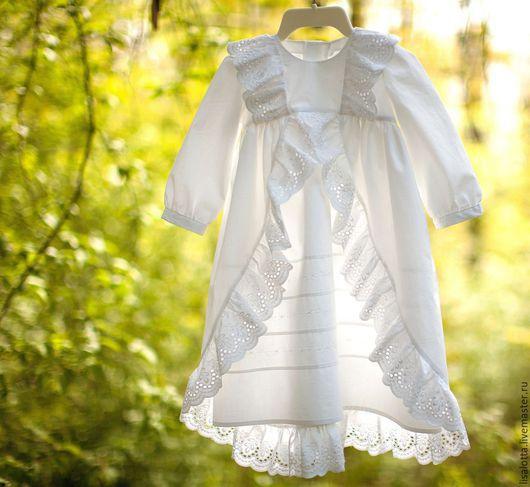 Крестильные принадлежности ручной работы. Ярмарка Мастеров - ручная работа. Купить Крестильное платье Анна. Handmade. Белый, платье для крещения