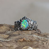Украшения handmade. Livemaster - original item Ring with black opal