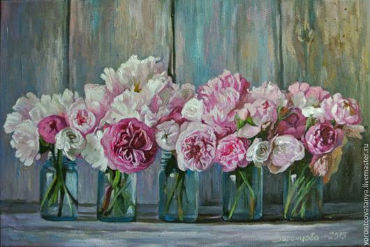 """Картины цветов ручной работы. Ярмарка Мастеров - ручная работа. Купить """"Пионов лохматая радость"""". Handmade. Брусничный, цветы, картина"""