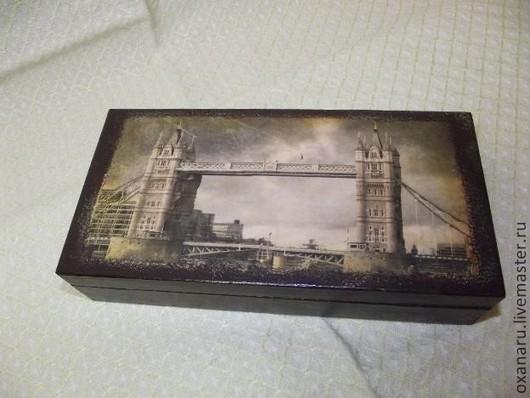 """Подарки для мужчин, ручной работы. Ярмарка Мастеров - ручная работа. Купить Купюрница """" Тауэрский мост Лондон"""". Handmade. Коричневый"""