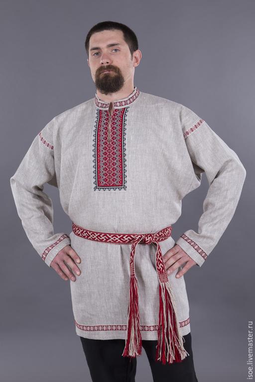 Одежда ручной работы. Ярмарка Мастеров - ручная работа. Купить Рубаха славянская  праздничная мужская (серый лен). Handmade. Серый