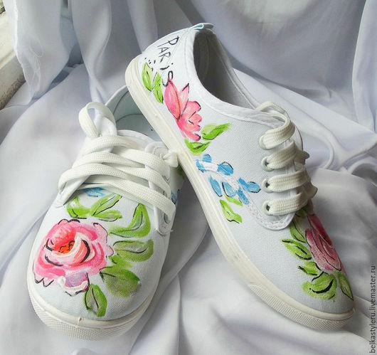 """Обувь ручной работы. Ярмарка Мастеров - ручная работа. Купить Кеды женские  """"Париж"""", кеды с рисунком, роспись кед.. Handmade."""