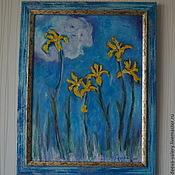 """Картины и панно ручной работы. Ярмарка Мастеров - ручная работа Картина маслом """"Ирисы"""". Handmade."""