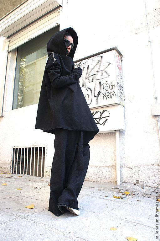 Верхняя одежда ручной работы. Ярмарка Мастеров - ручная работа. Купить Черное пальто Crazy с рукавами. Handmade. Пальто