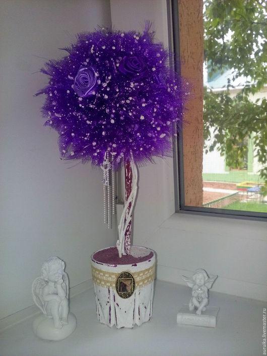 """Топиарии ручной работы. Ярмарка Мастеров - ручная работа. Купить Топиарий из органзы """"Фиолетовый винтаж"""". Handmade. Тёмно-фиолетовый"""