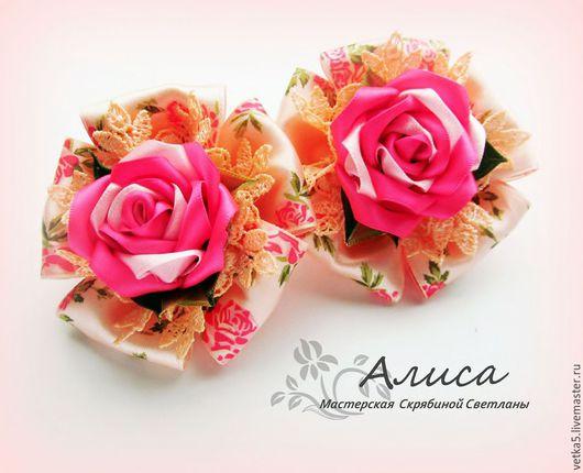 """Детская бижутерия ручной работы. Ярмарка Мастеров - ручная работа. Купить Резинки для девочки """"Розовый сад"""". Handmade. Розовый"""
