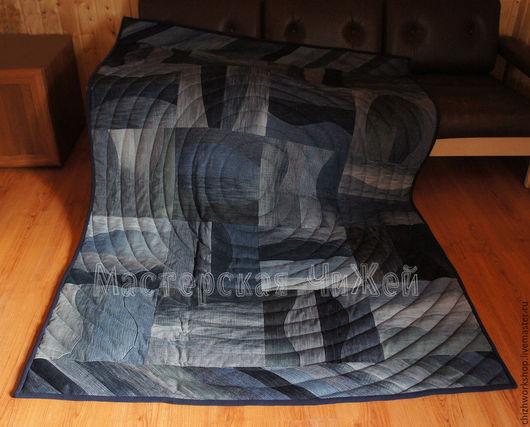 Текстиль, ковры ручной работы. Ярмарка Мастеров - ручная работа. Купить Одеяло Джинсовые Волны. Handmade. Одеяло пэчворк