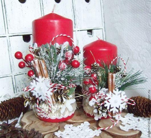 Свечи ручной работы. Ярмарка Мастеров - ручная работа. Купить Набор Новогодние свечи. Handmade. Ярко-красный, декор для интерьера