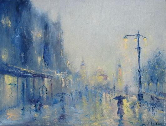 Пейзаж ручной работы. Ярмарка Мастеров - ручная работа. Купить Дождливый вечер. Handmade. Светло-голубой, дождь, тепло, холст