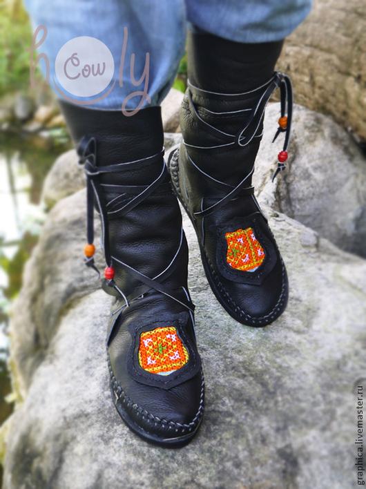"""Обувь ручной работы. Ярмарка Мастеров - ручная работа. Купить Черные кожаные мокасины """"Hmong Black Bear"""". Handmade. Черный"""