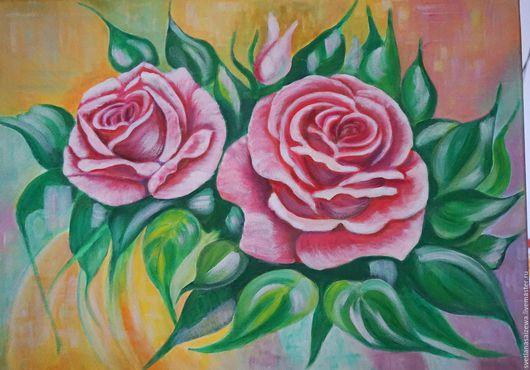 Картины цветов ручной работы. Ярмарка Мастеров - ручная работа. Купить Розы полуабстракция. Handmade. Розовый, подарок, лето, радость