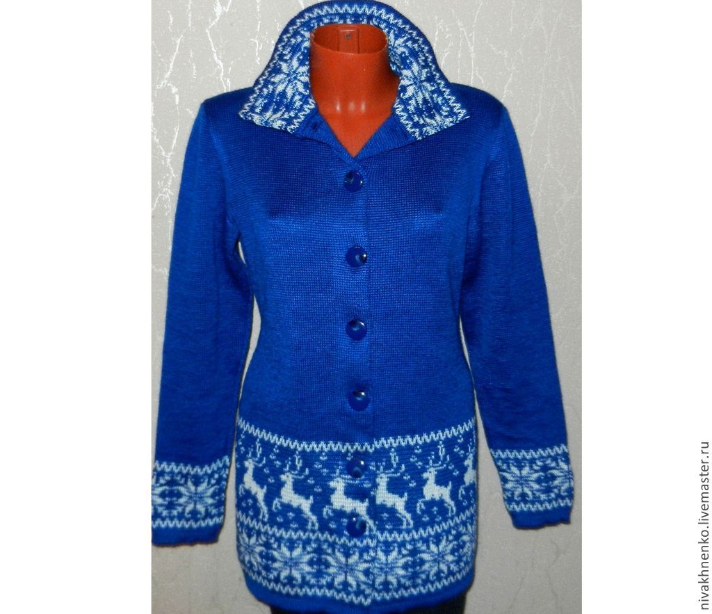 Coat knitted with reindeer and Norwegian ornament, Coats, Moscow,  Фото №1