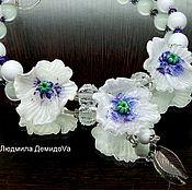 Украшения handmade. Livemaster - original item Poppies necklace white lampwork. Handmade.