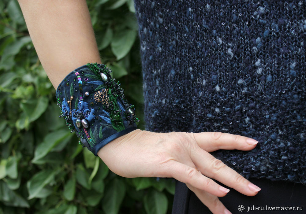 Cuff bracelet with author's embroidery Night orchids in blue, Cuff bracelet, Chelyabinsk,  Фото №1