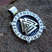 Украшения handmade. Livemaster - original item Silver Valknut in the runic circle with the rotating center.. Handmade.
