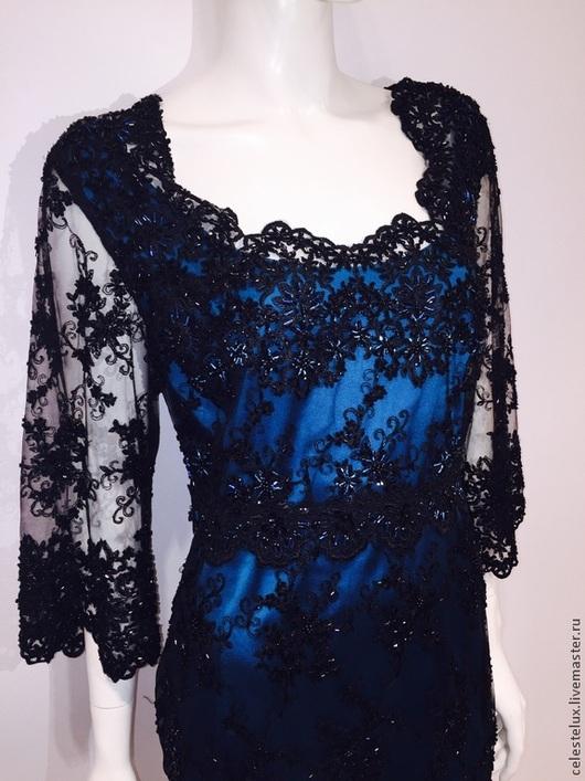 Платья ручной работы. Ярмарка Мастеров - ручная работа. Купить Платье Camelia. Handmade. Тёмно-бирюзовый, прозрачное платье