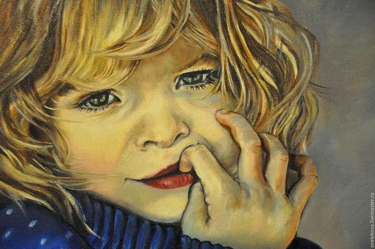 """Люди, ручной работы. Ярмарка Мастеров - ручная работа. Купить Картина маслом """" Малышка"""". Handmade. Тёмно-синий"""