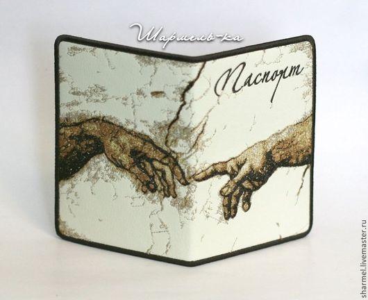 Вышитая обложка на паспорт `Сотворение Адама. Микеланджело`. Полезные вещицы от Шармель-ки.