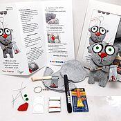 Куклы и игрушки handmade. Livemaster - original item Sewing kit toy gray cat key chain with the axe, DIY. Handmade.