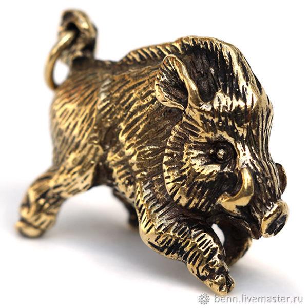 Кабан Бронзовый брелок Коллекционная статуэтка Вепрь Фигурка свинья