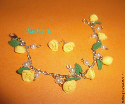 Набор `Роза` (серьги и браслет на цепочке)