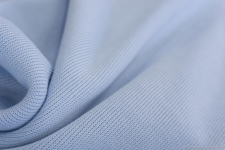 Хлопковый трикотаж голубой. Франция, Ткани, Сочи,  Фото №1