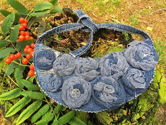 Колье, бусы ручной работы. Ярмарка Мастеров - ручная работа. Купить Колье из денима Розы. Handmade. Голубой, розы из ткани