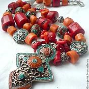 Necklace handmade. Livemaster - original item NECKLACE 2 strands CORAL pendant NEPAL necklaces.. Handmade.