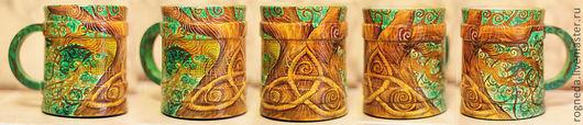 Кружки и чашки ручной работы. Ярмарка Мастеров - ручная работа. Купить Кельтское дерево (деревянная кружка). Handmade. Кельты, лес