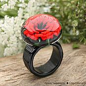 Украшения ручной работы. Ярмарка Мастеров - ручная работа Мак - кольцо из стекла лэмпворк lampwork красный черный. Handmade.