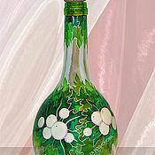 Посуда handmade. Livemaster - original item Bottle Arctic Summer, stained glass painting. Handmade.