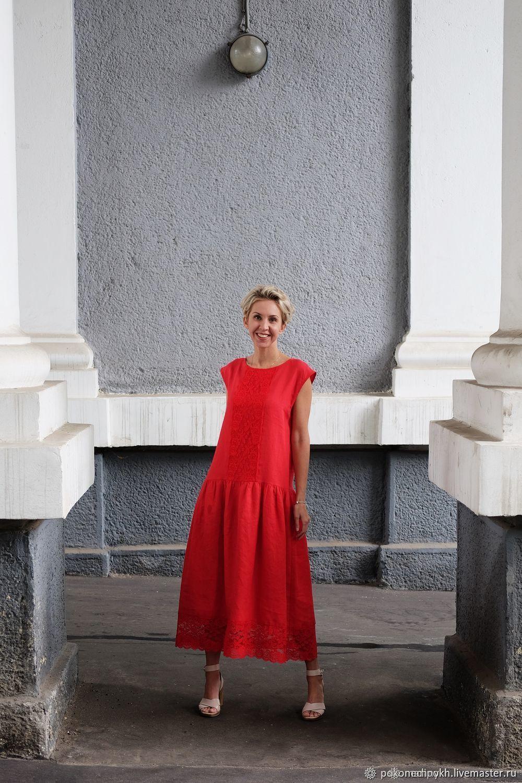 Сарафан из красного льна #ZЕФИРНЫЙ, Сарафаны, Москва,  Фото №1