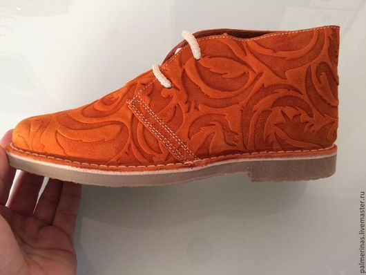 Обувь ручной работы. Ярмарка Мастеров - ручная работа. Купить Из рельефной замши 36. Handmade. Оранжевый, замшевая обувь