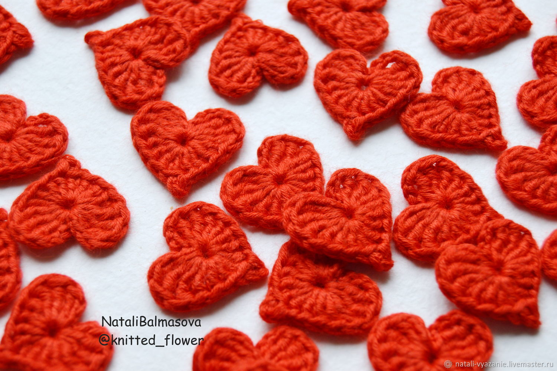 сердечки вязаные крючком маленькие купить в интернет магазине на