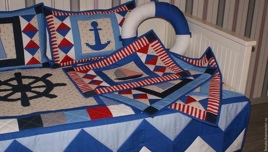 Текстиль, ковры ручной работы. Ярмарка Мастеров - ручная работа. Купить Лоскутное покрывало Морское-2. Handmade. Лоскутное покрывало