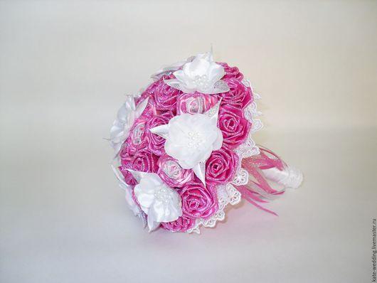 Свадебные цветы ручной работы. Ярмарка Мастеров - ручная работа. Купить Есть в наличии!!! Свадебный букет- дублёр.. Handmade. Розовый