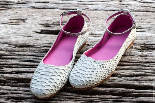 Обувь ручной работы. Ярмарка Мастеров - ручная работа. Купить Балетки из натуральной кожи питона. Большой размер на стопу 28-28,5 см. Handmade.