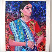 Картины и панно handmade. Livemaster - original item Indian woman on a relief background Oil painting boho style. Handmade.