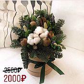 Композиции ручной работы. Ярмарка Мастеров - ручная работа Шляпная коробка с сухоцветами. Handmade.