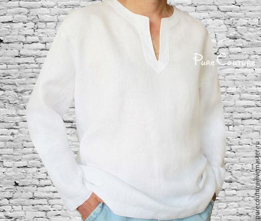 Белая рубашка мужская Льняная рубаха Летняя одежда свободный крой Льняная одежда Летняя рубашка Мужская одежда Стильная рубашка из льна Модная рубаха Летняя мода мужская