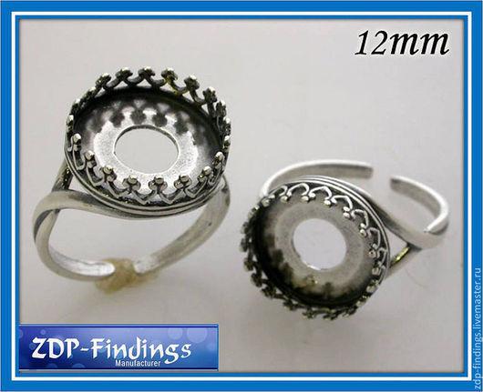 Для украшений ручной работы. Ярмарка Мастеров - ручная работа. Купить 2 цвета Серебряные основы для кольца с 12мм кабошоном 8480. Handmade.