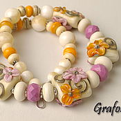 Necklace handmade. Livemaster - original item Necklace Beads with flowers. Handmade.