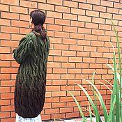 Одежда ручной работы. Ярмарка Мастеров - ручная работа Длинный кардиган из полушерсти. Вязаный кардиган. Handmade.