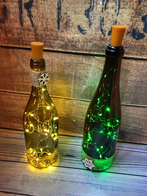 Бутылка с подсветкой, Оформление бутылок, Москва,  Фото №1