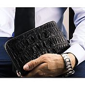 Сумки и аксессуары handmade. Livemaster - original item Purse clutch bag leather crocodile zipper black. Handmade.
