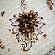 Кулоны, подвески ручной работы. Ярмарка Мастеров - ручная работа. Купить Медный кулон Лист с тигровым глазом Осень Природа Листья Wire Wrap. Handmade.