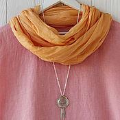 Аксессуары handmade. Livemaster - original item Soft saffron scarf-shawl made of fine cotton. Handmade.